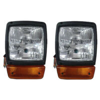 FRONT HEADLIGHT HEADLAMP+INDICATOR ASSEMBLY PAIR WITH H4 12V BULB JCB DUMPERS