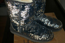 UGG Midnight NAVY Silver SPARKLES Classic SHORT Sheepskin Lined SEQUIN BOOTS  10
