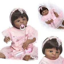 Black Baby Girl Reborn Doll Realistic Lifelike Handmade Silicone Alive Gift Toy