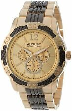 NEW August Steiner AS8058TTG Mens Multi-Function Sport Gold Metal Bracelet Watch