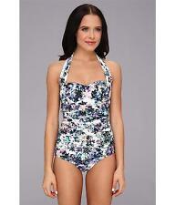 Badgley Mischka Fiona Shirred Halter Maillot Swimsuit Size 8 NWT $138