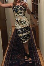 DOLCE & GABBANA Ruched silk Blush Rose black lace Dress 42 = USA 6