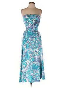 Women Lilly Pulitzer Holbrook Strapless Maxi Dress Montauk Size XS