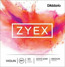 3/4 Scale Length Medium Tension Violin Strings D'Addario DZ310 3/4M Zyex Core