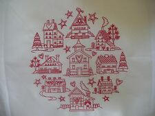TEN REDWORK SALTBOX HOUSES EMBROIDERED QUILT BLOCKS
