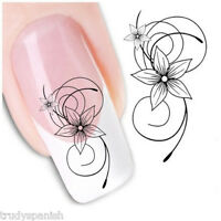 Nail Art Water Decals Stickers Black Daisies Flowers Floral Gel Polish (024)