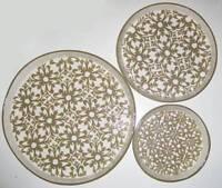 MAGENTA STUDIO B CERAMIC ROUND TRAYS Stacking Serving Decorative Linen Beige