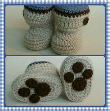 Newborn Baby Boy Crochet Puppy paw print Boot Booties Photo Prop Gift Shoes