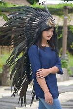Native American Indian Full Black With Wolf Headdress Costume War Bonnet
