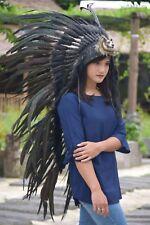 Native American Indian Full Black With Wolf Headdress Costume War Bonnet