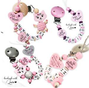 Schnullerkette mit Namen für Mädchen  Prinzessin ♥Baby♥Geburt♥Taufe♥Geschenk