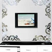 20PCS Acrylic Mirror Wall Sticker DIY Art Decal Vinyl Mural Home Decor Removable