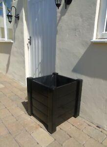 Wooden Planter Plant Pot Window Box - Large - Jet Black - Gloss Hand Painted