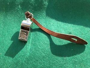 Vintage Acme Military Thunderer Whistle C.N 973-6266 & Leather Lanyard