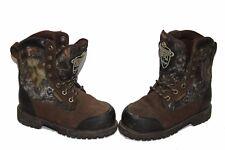 Boys Youth Lacrosse Brawny Brown Mossy Oak Waterproof Thinsulate Boots Size 1 M