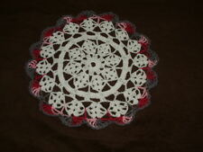 New Hand Crocheted Doily- white pink marble gray