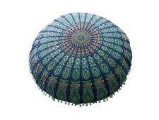 Indian Peacock Mandala pouf Floor Cushion Cover Bohemian Round Roundie Pouffie