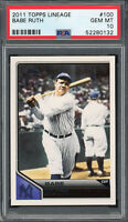 Babe Ruth New York Yankees 2011 Topps Lineage Baseball Card #100 PSA 10 GEM MINT