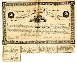 1862  $50  Confederate Bond. only 926 issued. B-45