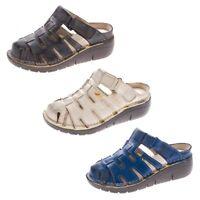 TMA Damen Leder Clogs Comfort Schuhe echt Leder Sandalen Slipper TMA 8891 36-42