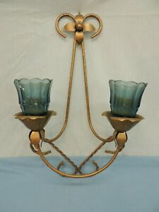 DECORATIVE VOTIVE CANDLE HOLDER WALL SCONCE MID-CENTURY METAL BLUE GLASS