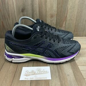 Asics Womens 1012A591 Lace Up Black Purple Green Athletic Shoes Size US 9.5