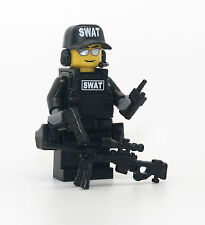 SWAT Police Officer Sniper Minifigure made with real LEGO(R) parts