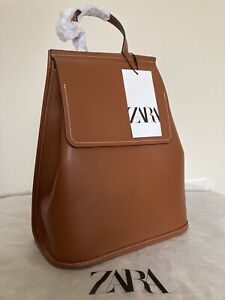ZARA  Brown Tan BACKPACK WITH FLAP AND TOPSTITCHING new with tags