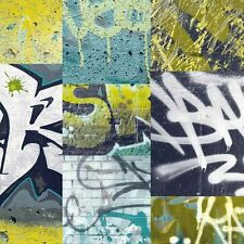 Arthouse Graffiti Brick Wall Photo Wallpaper Lime Kids Boys Girls Bedroom  668300