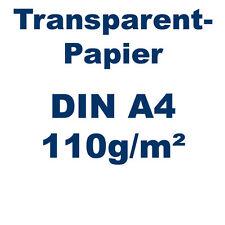 100 Blatt Transparentpapier DIN A4 110g weiß 210x297mm Pergamentapier bedruckbar