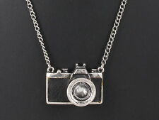 FASHION SILVERTONE & BLACK INLAY CAMERA PENDANT CHAIN NECKLACE 3325B