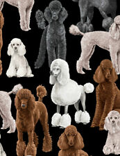 Dogs Poodle White Brown Gray Grey C7527 Timeless Treasures Durable Cotton Fabric