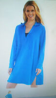 NWT Womens Swimsuit Hooded Cover-Up Robe L/1X/2X  Blue 100% Cotton Swim 365