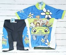CHEJI Youth Bike Cycling Jersey Shorts Padded Blue Flowers Animals 2XL Kids