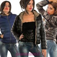 Giubbotto imbottito piumino donna cappuccio zip giacca nuovo MY13-8830-16