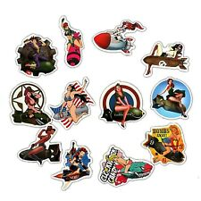 12pcs Pinup Girls Stickers Vintage WW2 US Air Force Bombs Sexy Skateboard Laptop