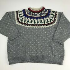 Vtg EDDIE BAUER Winter WOOL Sweater 1992 Snowflakes CHRISTMAS Tree FAIR Isle Med