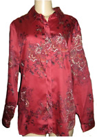 Coldwater Creek Women's Business Work floral shaped shirt top blouse plus 2X 3X