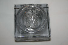 Vintage Square Glass Inkwell with Top Showing Boy and Girl Holding Hands