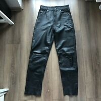 VTG Black Real Leather Straight Leg Trousers Gothic Biker - Size 32 Vintage