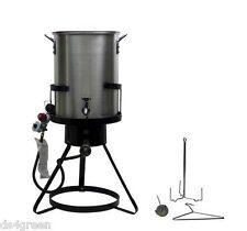 Chard Heavy Duty 50,000 BTU Outdoor Propane 30 Quart Deep Turkey Fryer with Pot