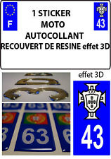 1 sticker plaque immatriculation MOTO TUNING 3D RESINE  FPF PORTUGAL DEPA 43