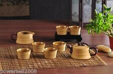 New listing . Chinese Retro Yellowish-brown Ceramic Household Gifts Tea Pot Tea Set 8 Pieces