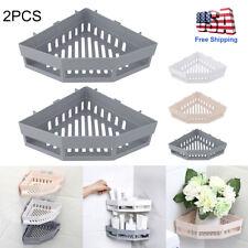 2Pcs Bathroom Triangular Shower Shelf Corner Bath Storage Holder Organizer Rack