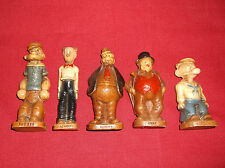 """5 Rare"""" 1944 King Features Syroco Statues Popeye, Dagwood, Barney,Jiggs,and Wimp"""