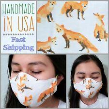Fabric Face Mask Filter Pocket Handmade US Cotton Washable~Orange FOX~Women/Teen
