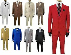 Men's 2-Button Suit 2-PC Single Breasted Slim Fit Suit Comes with 10 Colors