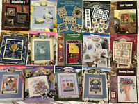 Lot of 14 Vtg StitchWorld X-stitch Patterns 199Os Swan, Garden, Birth, Colonial