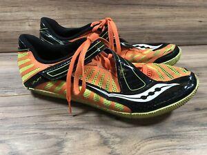 Saucony Uplift Men 12 Track Shoes Orange Black Yellow High Jump Spikes