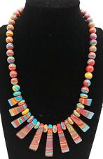 Beautiful! Red Stripe Turquoise Beads Gemstone Jewellery Necklace 18'' AAA